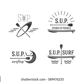 Stand up paddle. Set icons of sup surfing