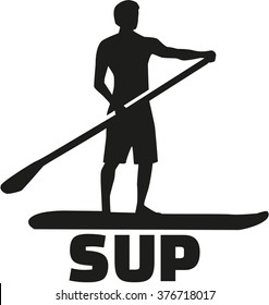 Stand up paddling silhouette with SUP