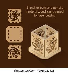 Stand for pens and pencils made of wood, can be used for laser cutting