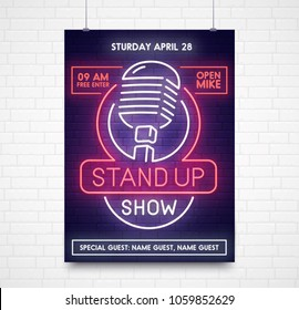 Stand Up poster, flyer and banner template. Style sign neon. Stand Up  logo, emblem and label. Bright signboard, light banner.  Vector illustration.
