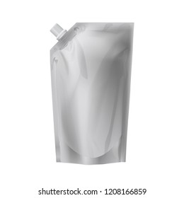stand up pouch packaging for ketchup empty template on a white background