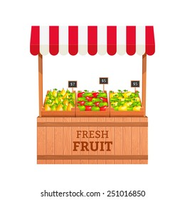 Stand for selling fruit. Apples and Pears in wooden boxes. Fruit stand. Vector illustration