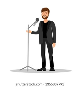 Stand Up Show Isolated Color Vector Illustration. Handsome Male Singer Cartoon Character. Macho Vocalist Standing Near Microphone. Announcer, Artist, Performer, Showman, Star on Stage.