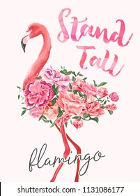 stand tall slogan with flamingo and flower illustration