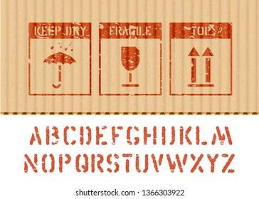 Standard cargo grunge box signs and alphabet for cargo and logisticks: umbrella, glass, arrow up icons on cardboard. Vector illustration