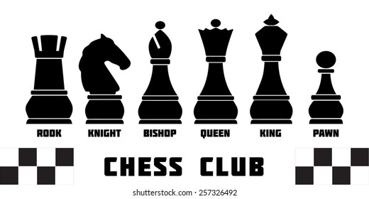 Standard chess pieces named silhouettes: king, queen, rook, bishop, knight. Vector icon set. Infographic template for Chess club or Chess school. Chess pieces vector icon set. Sample text. Editable.