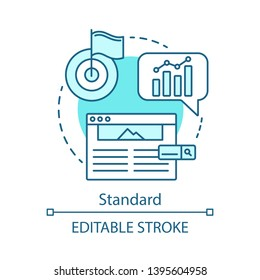 Standard concept icon. SEO keyword tool subscription idea thin line illustration. Search engine optimization. Vector isolated outline drawing. Increasing visibility of website. Editable stroke
