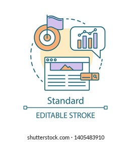 Standard concept icon. SEO keyword tool subscription idea thin line illustration. Search engine optimization. Increasing visibility of website. Vector isolated outline drawing. Editable stroke