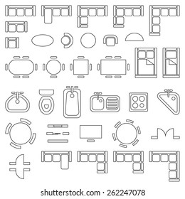 Standard furniture symbols used in architecture plans icons set, graphic design elements, outlined, isolated on white background, vector illustration.