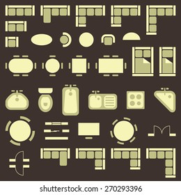 Standard furniture symbols used in architecture plans icons set, graphic design elements, isolated on brown background, vector illustration.