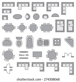 Standard furniture symbols used in architecture plans icons set, graphic design elements, gray isolated on white background, vector illustration.