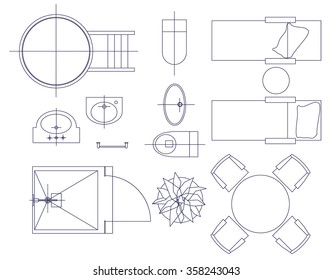 planung zeichnung images stock photos vectors shutterstock Fire Alarm Light standard furniture symbols used in architecture plans icons set graphic design elements home planning