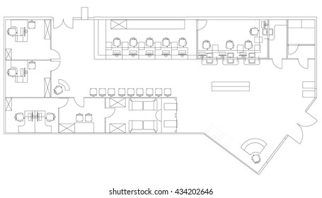Standard Furniture Symbols Used In Architecture Plans Icons Set, Office  Planning Icon Set, Graphic
