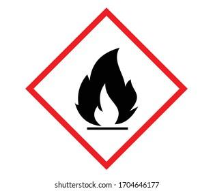 Standard Pictogram of Flammable Symbol, GHS hazard pictogram - FLAMMABLE , hazard warning sign flammable, Flammable, inflammable substances icon. Vector