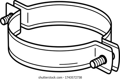 Standard pipe clamp. Vector outline icon.