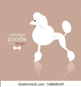 Standard poodle dog design on color background.
