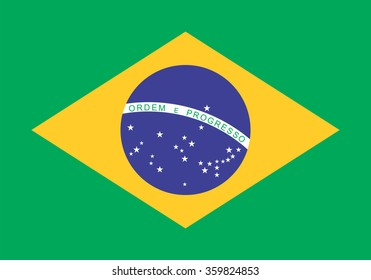 Standard Proportions and Color for Brazil Flag