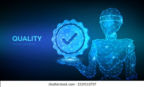 Standard Quality Control Certification Assurance. Abstract robot holding Quality icon check. Vector illustration.