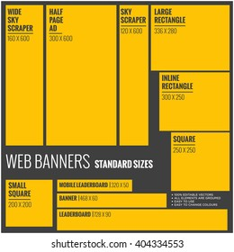Standard Size Vector Web Banners Set For Website Advertising