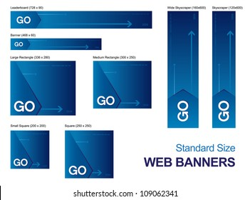 Standard size web banners collection, all the elements can be scaled to any size without loss of resolution. /Standard Size Web Banners