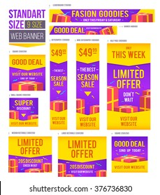 Standard size web banners set. Vector Web Banners