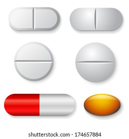Standard tablets and pills vector set isolated on white background.