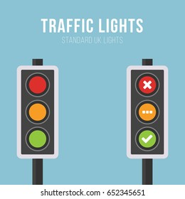 Standard UK Traffic Lights Vector Image. Isolated. Led backlight. Red, yellow and green colour.