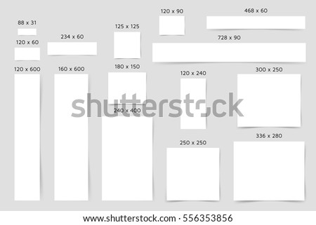 Standard Web Banners Template Big Set Of Different White Paper Banner Blank With Shadows