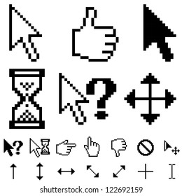 Standard white and black pixel cursors vector collection isolated on white background.