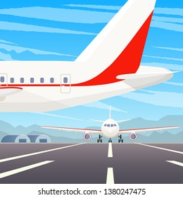 A standing airplane in airport. A flying plane in sky. Landing illustration. Travel by airplane, private airlines and transportation