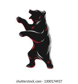 Standing bear isolated on  white. Vector illustration.