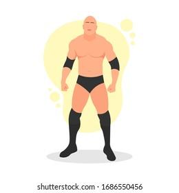 Standing big muscular bald male pro wrestler. Professional athlete. Sports entertainment. Muscle body. Fighting sport concept. Wrestling show. MMA Fighter - Simple flat vector character illustration.