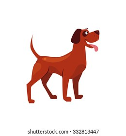 Standing Brown Dog with a Spot on Ear. Flat Vector Illustration