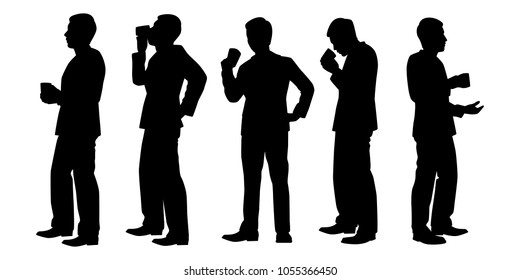 Standing business man with coffee cup silhouette vector set