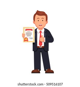 Standing business man holding certificate or diploma and showing thumbs up gesture. Flat style vector illustration isolated on white background.
