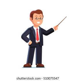Standing business man teacher wearing glasses pointing with wooden pointer stick. Flat style vector illustration isolated on white background.