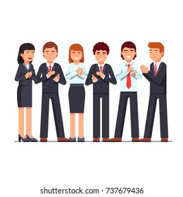 Standing business men & women group applauding to viewer. Clapping hands gesture. Team success appreciation ovation. Flat style vector illustration isolated on white background.
