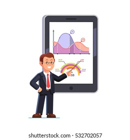 Standing business teacher wearing glasses pointing with wooden pointer stick at huge tablet or interactive board showing statistical data graphs. Flat style vector illustration.