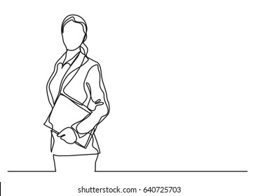 standing business woman - continuous line drawing