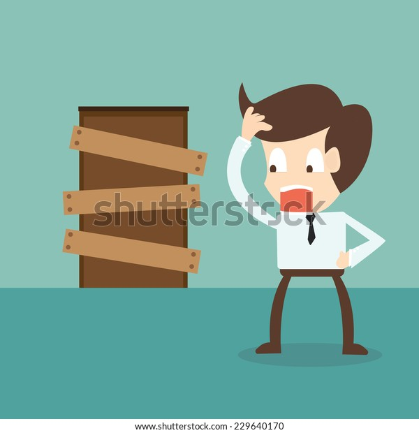 standing businessman and closed door - barriers to entry