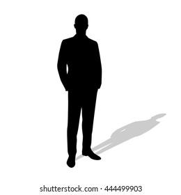 Standing businessman in suit. Vector silhouette. Hands in pockets. Shadow. Manager, teacher, salesman, speaker, lawyer