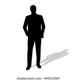 Standing businessman in suit. Vector silhouette. Hands in pockets. Shadow. Manager, teacher, salesman, speaker, lawyer
