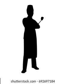 Standing chef silhouette vector