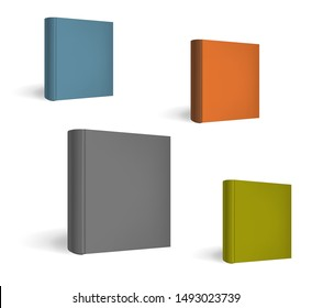Standing closed square hardcover book perspective, vector mock-up set. Catalog or magazine color front cover, template.