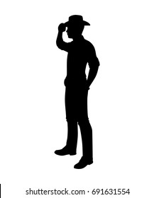 Standing cowboy silhouette vector