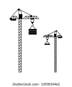 Standing crane with load suspended on hook, building equipment with rope and cargo, modern machine technology for high construction, transportation vector