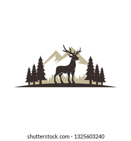 Standing Deer In The Forest Vector Illustration