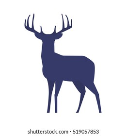 Standing deer silhouette on white background. Vector illustration.