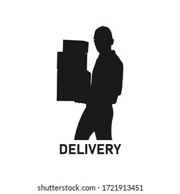Standing delivery man or guy holding or carrying package box silhouette. Online shopping concept. Male courier outline. Shipment service job. Transportation business logo - Vector illustration.