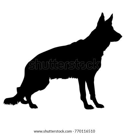 standing dog black silhouette german shepherd stock vector royalty